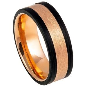8mm Black and Rose Gold Tungsten Wedding Band Ring